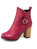 Women's Shoes Leatherette Fall Winter Fashion Boots Boots Chunky Heel Round Toe Booties/Ankle Boots Buckle For Casual Dress Burgundy