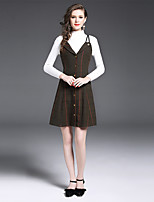Women's Daily Work Sophisticated Fall T-shirt Skirt Suits,Others Turtleneck Long Sleeve Wool Polyester Nylon