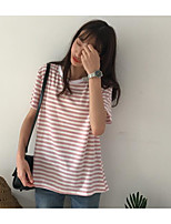 Women's Daily Cute Summer T-shirt,Striped Round Neck Short Sleeves Cotton Thin