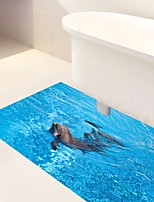 DIY 3D Dolphin Animals Floor Antiskid Stickers Home Decor PVC Waterproof Sea Murals Dolphin Floor Anti-slip Decal for Washroom Kids Room