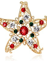 Women's Brooches Synthetic Diamond Chrismas Alloy Star Jewelry For Christmas