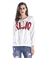 Women's Daily Going out Winter Fall T-shirt,Letter Round Neck 3/4 Length Sleeves Cotton Thin