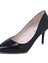 Women's Shoes PU Spring Comfort Heels For Casual Black White