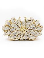 Women Bags Metal Evening Bag Crystal Detailing Flower(s) for Wedding Event/Party All Seasons Gold