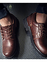 Men's Shoes Cowhide Spring Fall Comfort Oxfords For Casual Black Light Brown Dark Brown