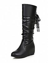 Mujer Zapatos Semicuero PU Otoño Invierno Confort Innovador Botas de Moda Botas Tacón Plano Dedo redondo Hasta la Rodilla Corbata de Lazo