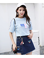 Women's Casual/Daily Simple Summer T-shirt Skirt Suits,Quotes & Sayings Round Neck Short Sleeve