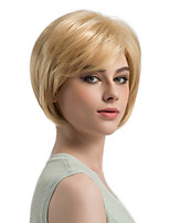 Women Synthetic Wig Capless Short Straight Strawberry Blonde/Bleach Blonde Side Part Bob Haircut Layered Haircut Natural Wigs Costume Wig