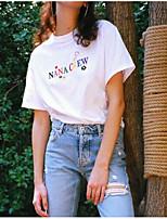 Damen Solide Buchstabe Niedlich Ausgehen T-shirt,Rundhalsausschnitt Sommer Kurzarm Baumwolle Dünn