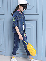 Girls' Cartoon Embroidered Clothing Set,Cotton Spring Fall Long Sleeve Cartoon Blue