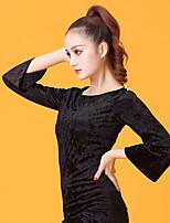 Latin Dance Women's Performance Velvet Chiffon 3/4 Length Sleeve Tops