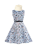 Girl's Daily Going out Holiday Solid Floral Dress,Cotton Polyester Spring Summer Half Sleeves Floral Blue