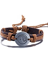 Men's Women's Leather Bracelet Friendship Punk PU Alloy Round Jewelry For Daily Casual Stage Office & Career Street