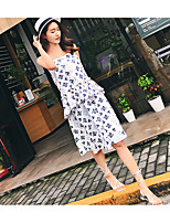 Women's Going out Casual/Daily Sexy Summer Tank Top Skirt Suits,Floral Embroidered Strap Sleeveless Micro-elastic