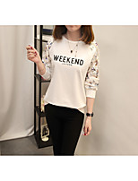 Women's Daily Work Cute Casual Sophisticated Winter Fall T-shirt,Solid Floral Letter Round Neck Long Sleeves Cotton Rayon Polyester Medium