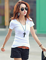 Women's Daily Casual Summer T-shirt,Solid U Neck Short Sleeves Cotton Spandex Medium