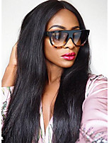 Women Human Hair Lace Wig Brazilian Human Hair 360 Frontal 150% Density With Baby Hair 360 Frontal Straight Wig Black Black Short Medium