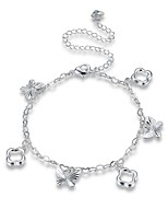 Femme Bracelet de cheville/Bracelet Plaqué argent Alliage Mode Classique Forme de Fleur Forme Géométrique Bijoux Pour Soirée Quotidien