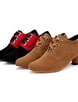 Women's Modern Synthetic Suede Indoor Splicing Customized Heel Brown Black/Red 1