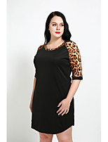Cute Ann Women's Plus Size Casual/Daily Sexy Vintage Simple Shift Dress,Leopard Round Neck Above Knee Half Sleeves Cotton Polyester All Seasons
