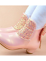 Girls' Shoes Patent Leather Fall Winter Fluff Lining Snow Boots Boots For Casual Blushing Pink Yellow Purple