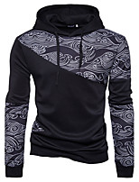 Men's Daily Going out Casual Sexy Hoodie Print Color Block Hooded Micro-elastic Cotton Long Sleeve Spring Fall