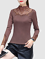 Women's Daily Sexy Spring Fall T-shirt,Solid Stand 3/4 Length Sleeves Polyester Medium