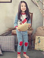 Girls' Striped Sleepwear-Cotton-Fall Long Sleeve