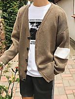 Standard Pullover Da uomo-Casual Semplice Tinta unita A V Manica lunga Poliestere Autunno Medio spessore Media elasticità