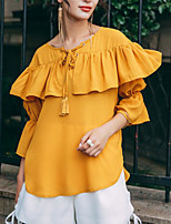 Women's Going out Casual Shirt,Solid Round Neck Half Sleeves Cotton