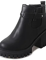 Women's Shoes PU Fall Winter Light Soles Boots Flat Heel Round Toe Lace-up For Casual Gray Black