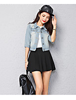Women's Going out Simple Fall Denim Jacket,Solid Square Neck Long Sleeve Short Cotton