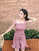 Women's Going out Casual/Daily Simple Sexy Summer Tank Top Pant Suits,Solid Round Neck Sleeveless Micro-elastic