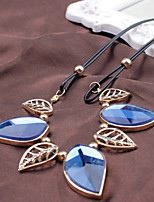 Women's Statement Necklaces Leaf Drop Crystal Alloy Luxury Elegant Jewelry For Party Daily