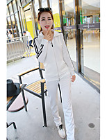 Women's Daily Casual Spring Fall Hoodie Pant Suits,Striped Shirt Collar Long Sleeve Stretch Yarn