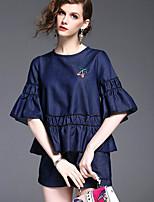 Damen Solide Einfach Lässig/Alltäglich Bluse Hose Anzüge,Rundhalsausschnitt Frühling Halbe Ärmel Mikro-elastisch
