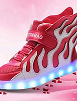 Girls' Shoes Breathable Mesh PU Fall Winter Light Up Shoes Sneakers LED For Casual Outdoor White/Blue Black/Green Black/Red Blushing Pink