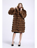 BF-Fur Style Women's Casual/Daily Sophisticated Fall Winter Fur Coat,Solid Stand Long Sleeve Long Fox Fur