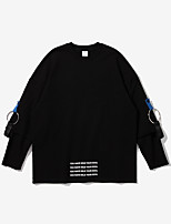 Men's Going out Sweatshirt Solid Round Neck Inelastic Cotton Long Sleeve Winter