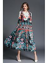 Для женщин На каждый день Офис Простое Уличный стиль С летящей юбкой Платье Цветочный принт,Круглый вырез Макси Рукав до локтя Полиэстер