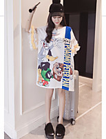 Women's Daily Casual T-shirt,Print Round Neck Half Sleeves Cotton