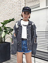 Women's Holiday Going out Simple Street chic Fall Denim Jacket,Solid Stand Long Sleeve Regular Acrylic Polyester
