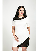 Cute Ann Women's Plus Size Casual/Daily Cute Street chic Shift Dress,Color Block Round Neck Knee-length Short Sleeves Cotton Polyester Spandex All