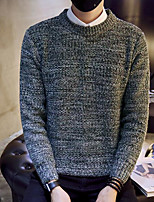 Men's Casual/Daily Simple Regular Pullover,Solid Round Neck Long Sleeves Polyester Winter Medium Micro-elastic