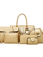 cheap -Women Bags PU Bag Set 6 Pieces Purse Set Zipper for Shopping Casual All Season Spring Brown Gray Black Gold