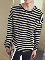 Men's Casual/Daily Simple Regular Pullover,Striped Round Neck Long Sleeves Cotton Fall Medium Micro-elastic