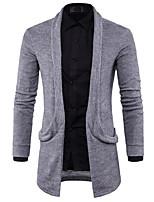 Men's Casual/Daily Regular Cardigan,Solid V Neck Long Sleeves Cotton Fall Winter Thick Micro-elastic