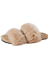 Women's Shoes Synthetic Microfiber PU Fur Fleece Fall Winter Fluff Lining Moccasin Comfort Slippers & Flip-Flops Flat Heel Open Toe