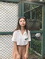 Women's Casual/Daily Simple Blouse,Geometric Shirt Collar 3/4 Length Sleeves Acrylic