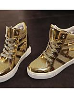 Damen Schuhe Atmungsaktive Mesh PU Winter Komfort Sneakers Flacher Absatz Booties / Stiefeletten Für Normal Gold Schwarz Silber